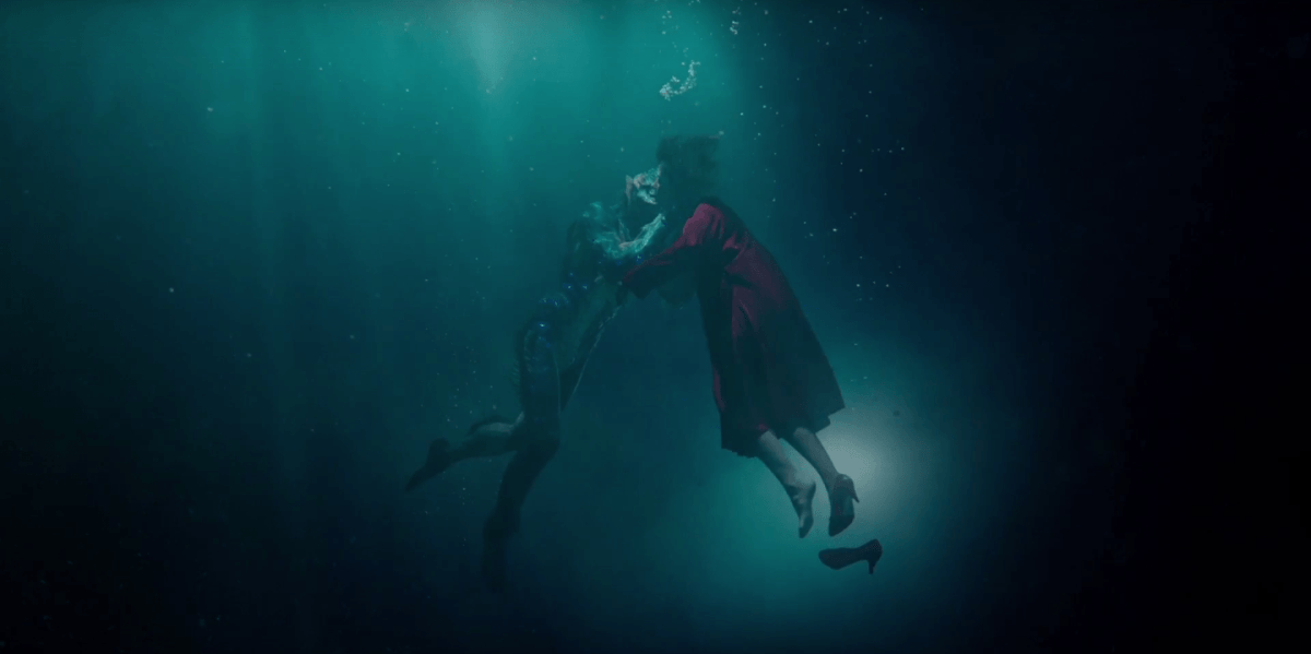"""Elisa and Amphibian Man embrace, from """"The Shape of Water"""""""