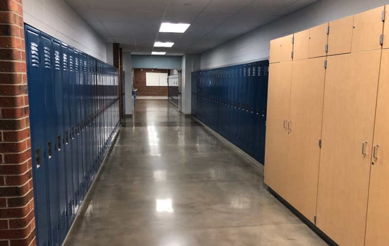 high school hallway with lockers