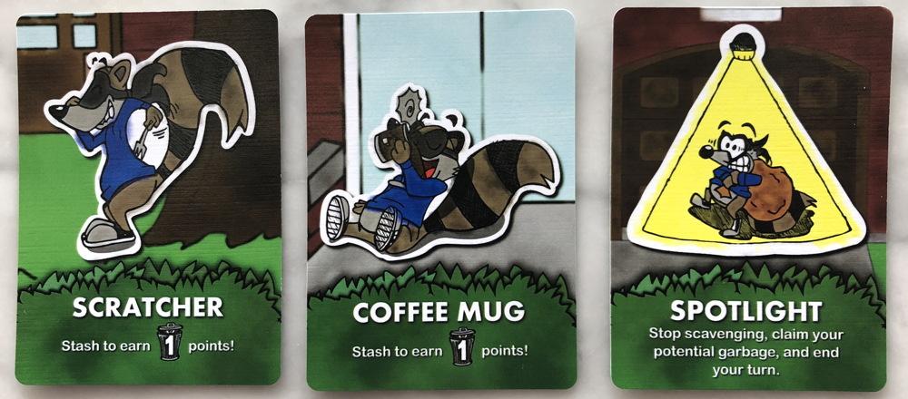scavenge card game - cards pulled from trashcan trash bin