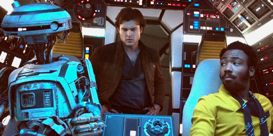 "L3-37 (Phoebe Waller-Bridge), Han Solo (Ehrenreich) and Calrissian (Donald Glover) from ""Solo: A Star Wars Story"""