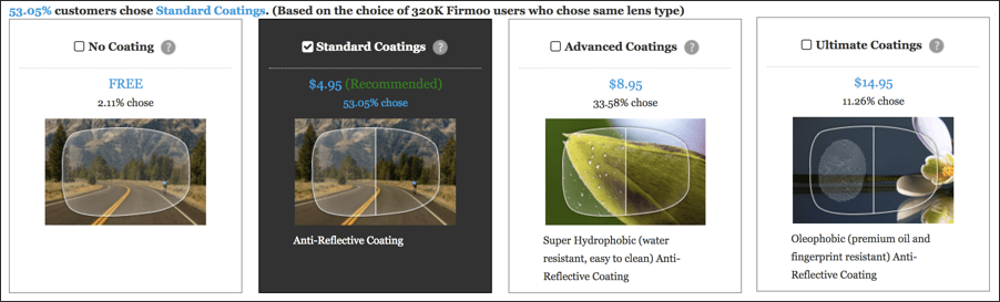 glass coating options, firmoo