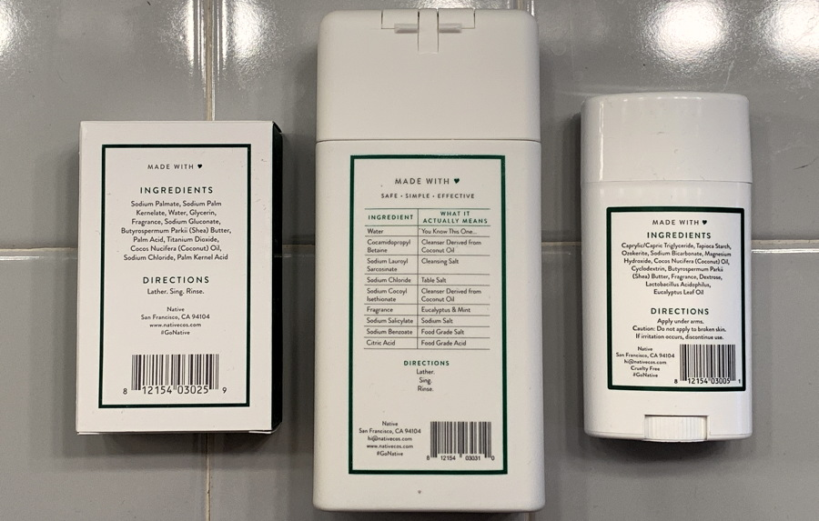 list of ingredients - native soap cleaner deodorant