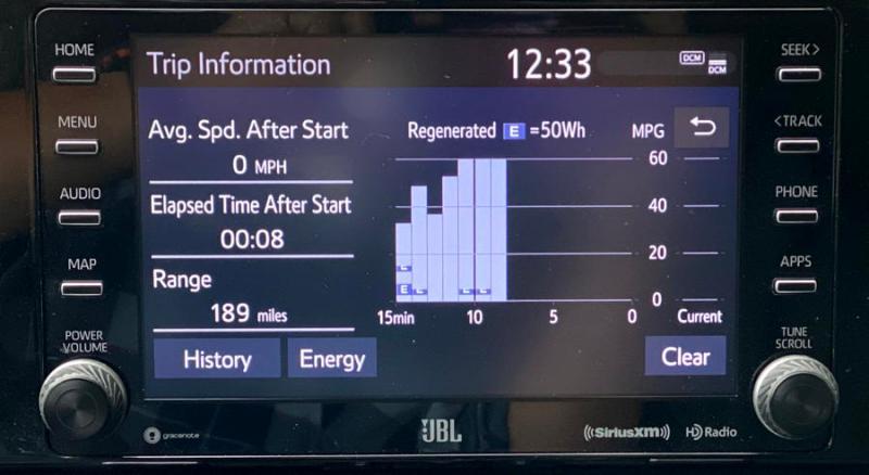 2019 toyota rav4 hybrid - driving efficiency analysis stats screen
