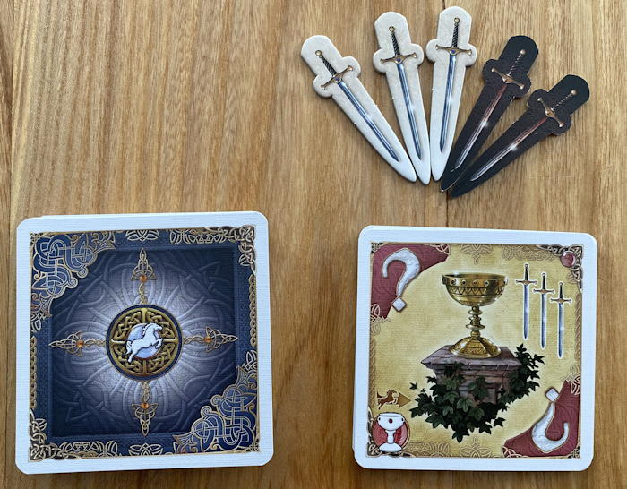 shadows over camelot the card game - quest cards and swords