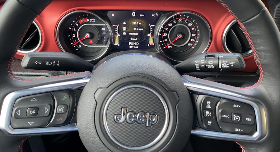 2020 jeep wrangler unlimited rubicon 4x4 steering wheel gauge closeup