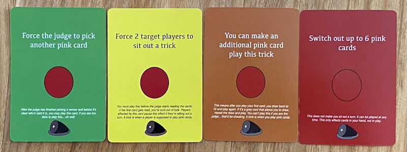 game of ham - colored ability cards