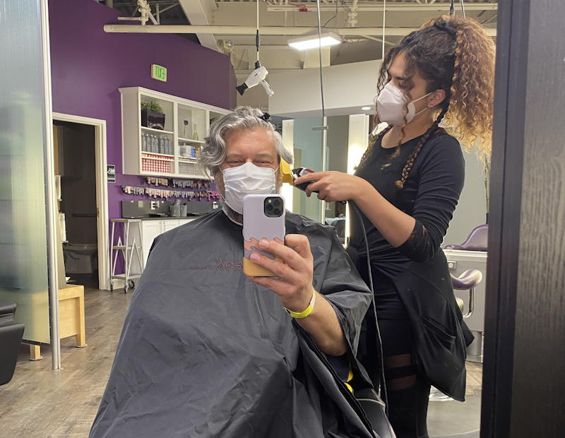 quarantine haircut with mask salon studio stylist