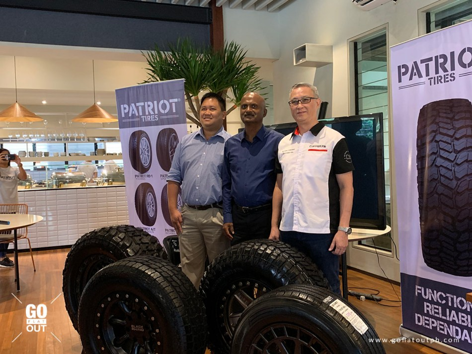 Sam Liuson, President of The Wheel Gallery, Jay Delloso, General Manager of Patriot Tires Philippines, and John Alexander, AVP for Sales of Patriot Tires APAC