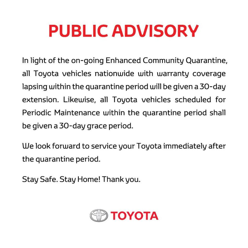 Toyota PH Implements 30-Day Grace Period For Warranties And PMS