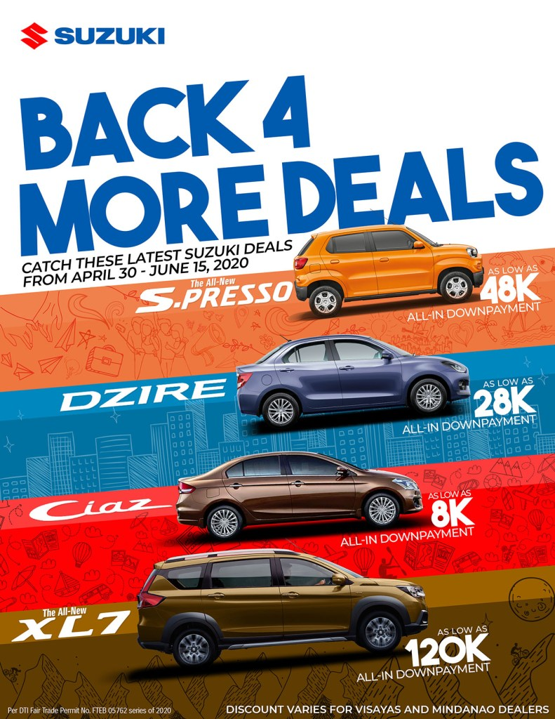 Drive Home A Suzuki For As Low As P8K All-In DP Until June 15