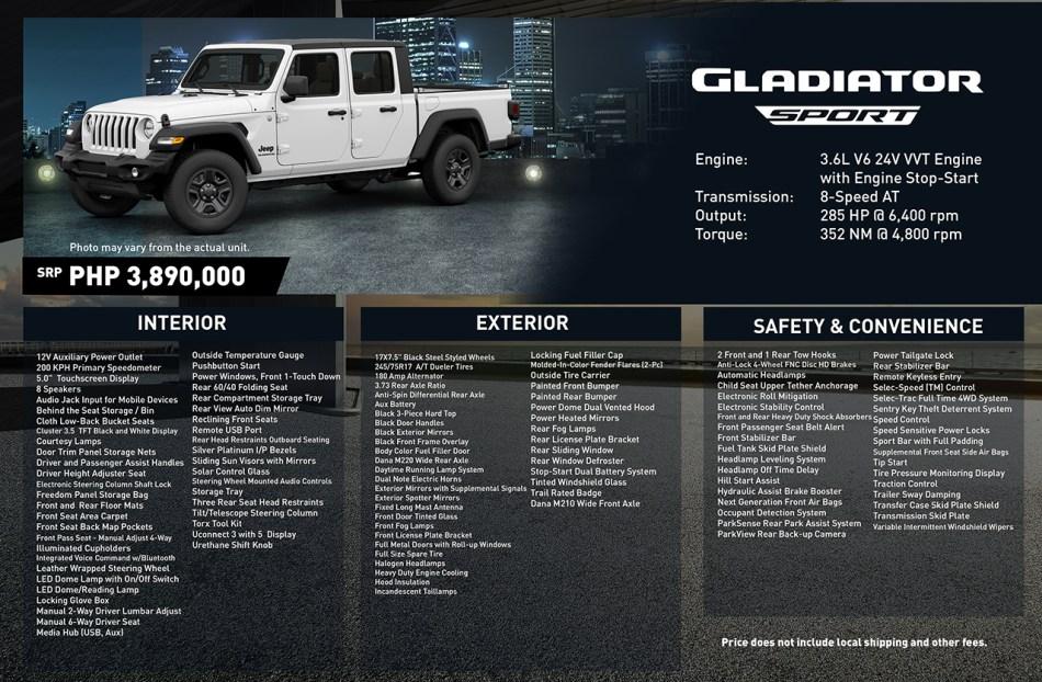 2020 Jeep Gladiator Sport Philippines Specs
