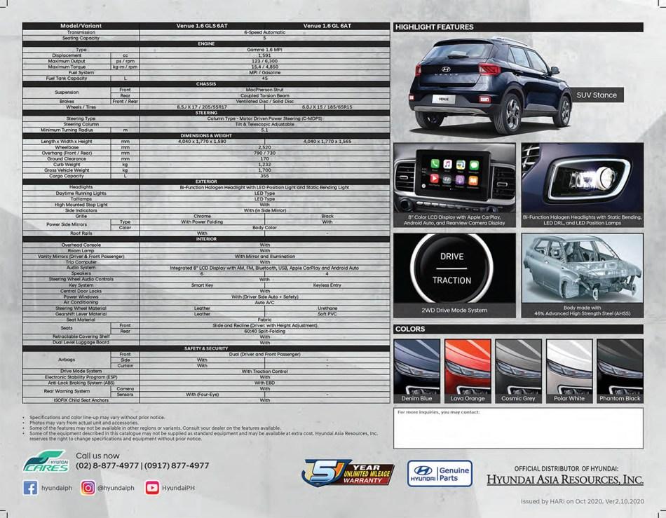 2021 Hyundai Venue Philippines Specs