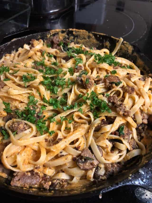 Pumpkin Pasta – Topped With Mushrooms