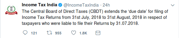 Due date for filing income tax returns extended CBDT