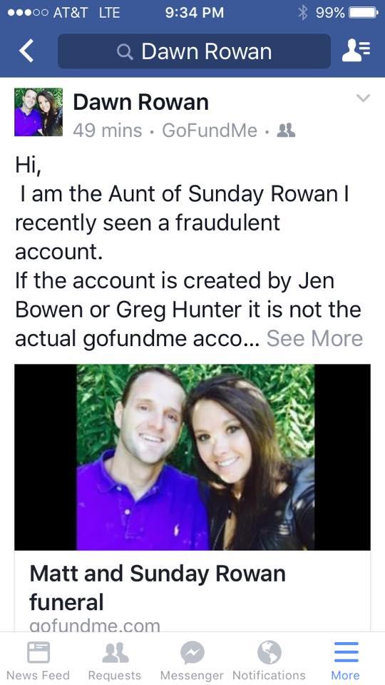 Dawn Rowan gofundme