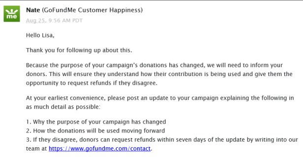 Gofundme customer service