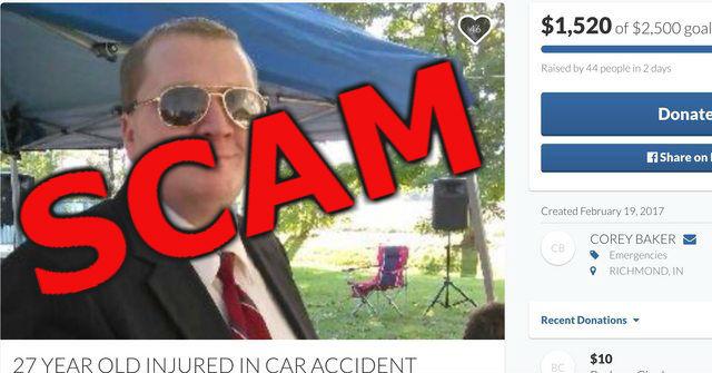 Corey Baker scam gofundme