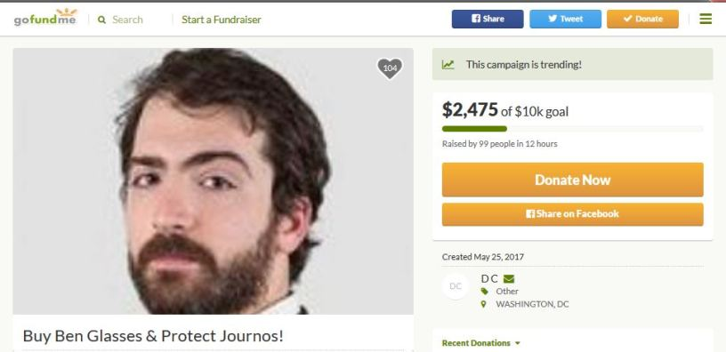 Ben Jacobs glasses GoFundMe