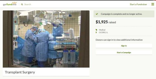 Transplant surgery fake GoFundMe