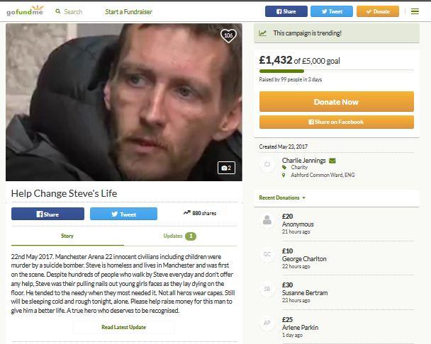 Homeless Steve Manchester GoFundMe