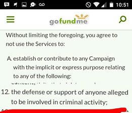 GoFundMe terms and conditions crime
