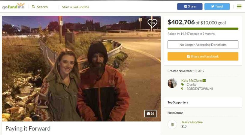 Homeless man GoFundMe