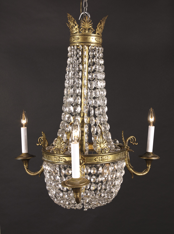 Small Late 19th Century French Bronze And Crystal 3 Light Empire Chandelier D With Beads