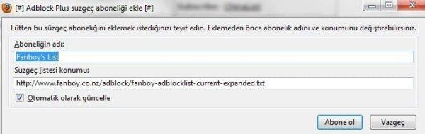 AdBlock Plus süzgeç abonelik onayı