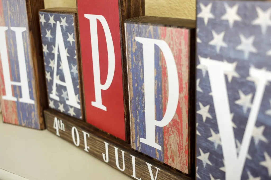 4th of July Handmade Solid Wood Sign