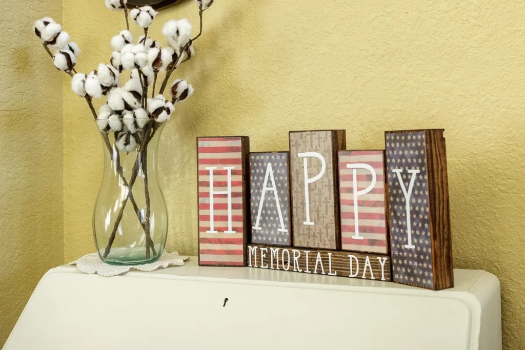 Memorial Day Handmade Solid Wood Sign Decor