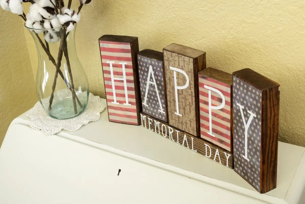 Memorial Day Decor Handmade Solid Wood Sign