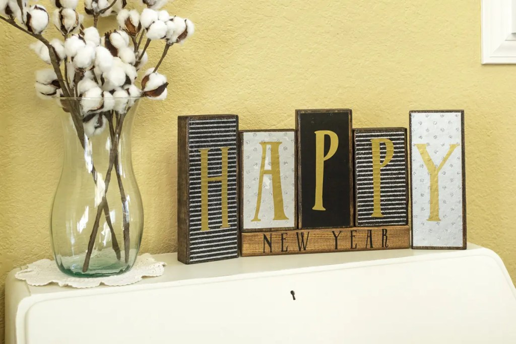 New Years Handmade Solid Wood Sign Decor