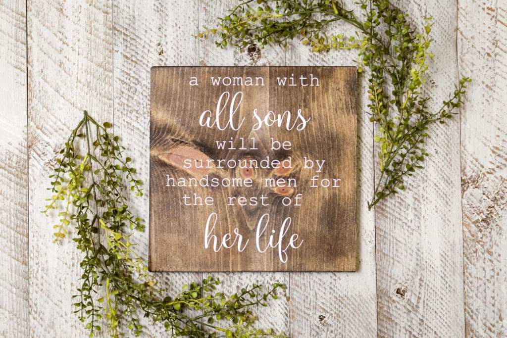 Boy Mom Handmade Solid Wood Sign