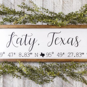Coordinates Handmade Wood Sign
