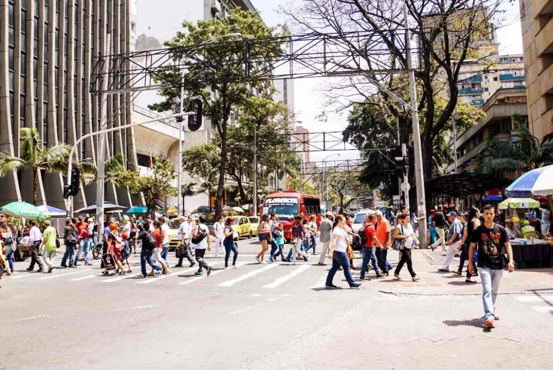 Straße in El Centro in Medellín