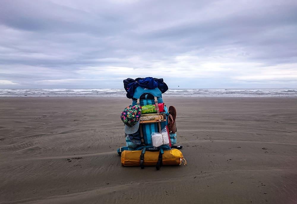 Gepäck auf dem Te Araroa Trail