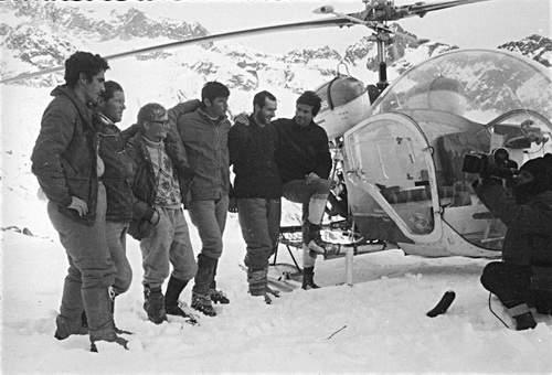 A. Gogna, Camille Bournissen, P. Armando, D. Troillet, G. Calcagno, Michel Darbellay, 2.01.1968. Rifugio Gianetti.