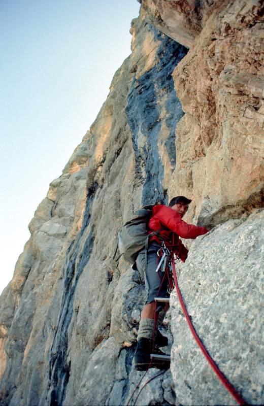 Alberto Dorigatti, parete NW della Cima di Terranova, 1a ascensione, 1971