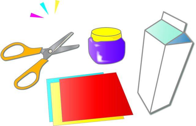 牛乳パックと工作道具2