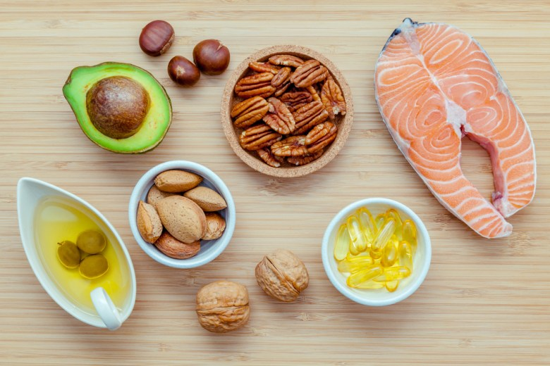 Best sources of omega 3 fatty acids - avocado, salmon and nuts