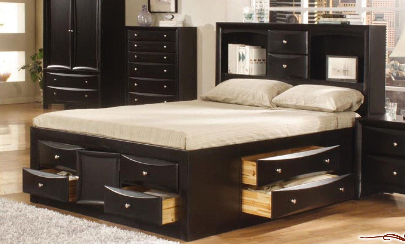 wooden bed plans storage