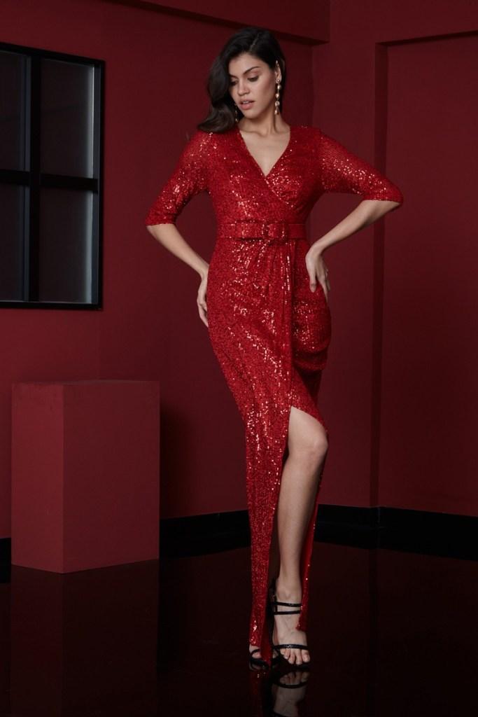 Vestito in paillettese, rosso