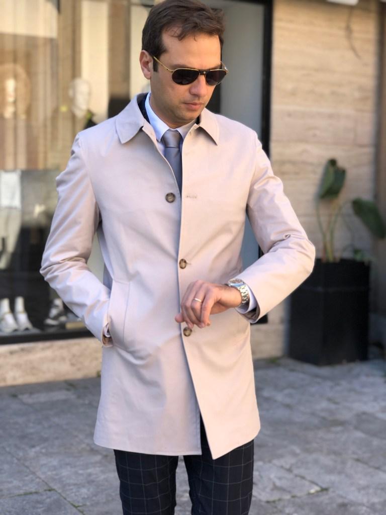 cappotto uomo beige modello trench - gogolfun.it