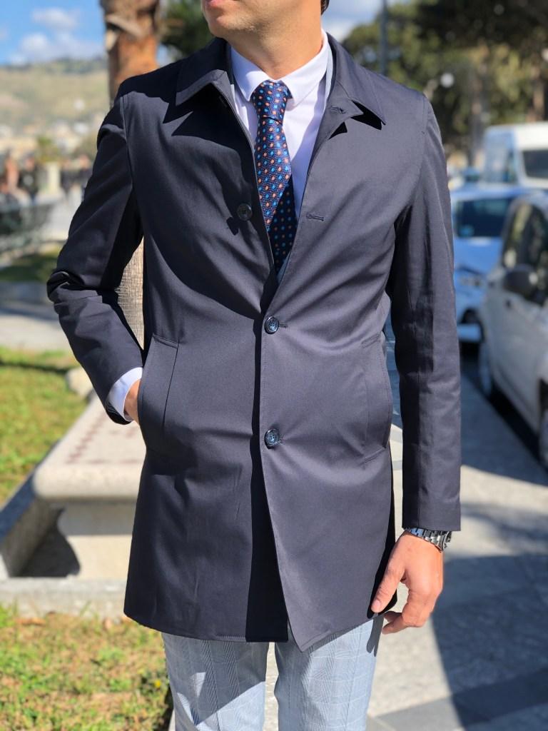 Cappotto uomo blu modello trench - Gogolfun.it