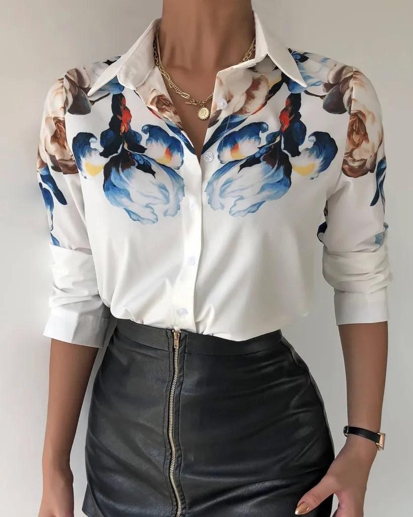 Camicia donna, base bianca con fiori