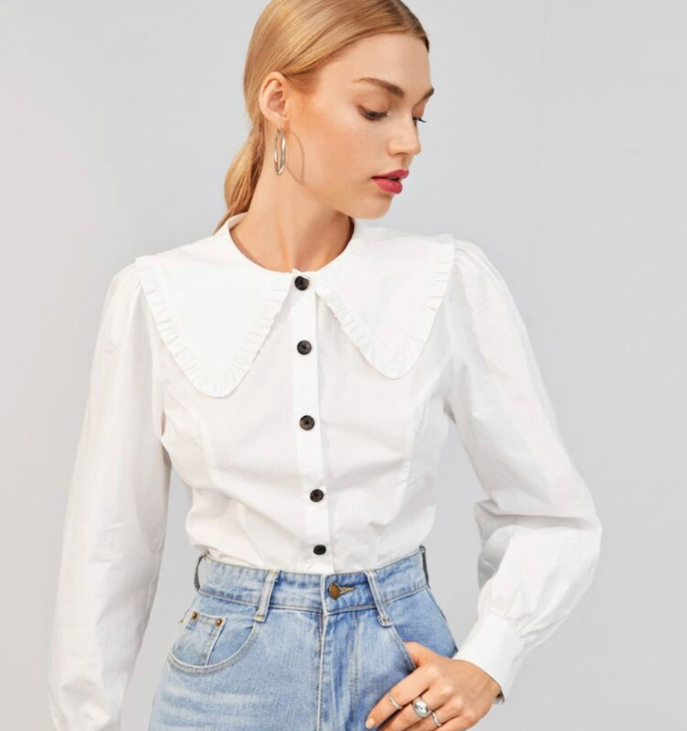 Camicia donna bianca con collo bavaglino - Shein