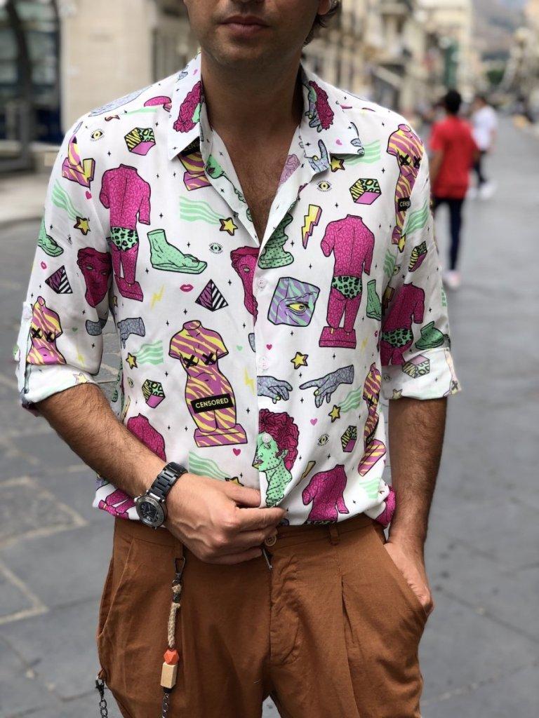 camicia fantasia disegni vintage, come rinunciarci?