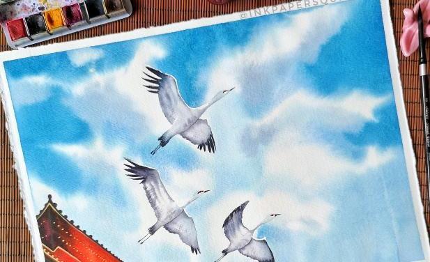 Cranes – @inkpapersquirrel