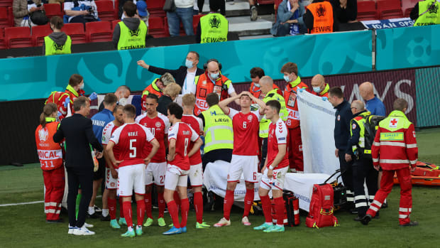 Erikson collapsed during a match in Euro Cup