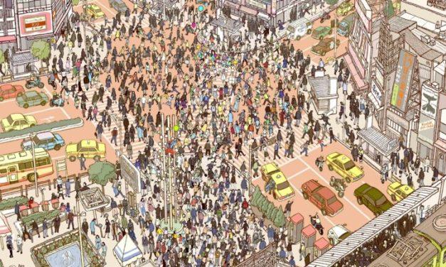 Shibuya Crossing 1980 – @chaykov_illustration